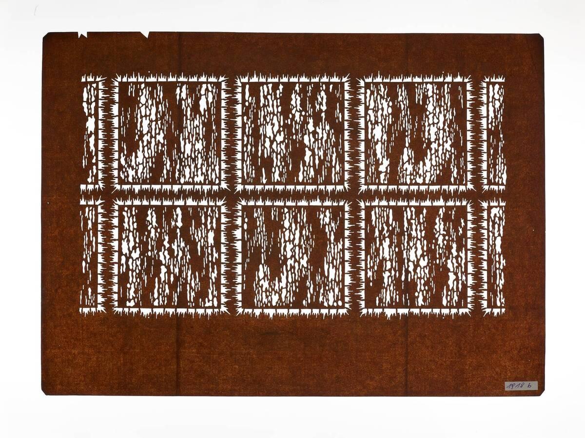 Teil eines zweiteiligen Sets (nimaigata 二枚型), Gitter in Plisseebatik (orinui shibori 折り縫い絞り)-Muster von Anonym