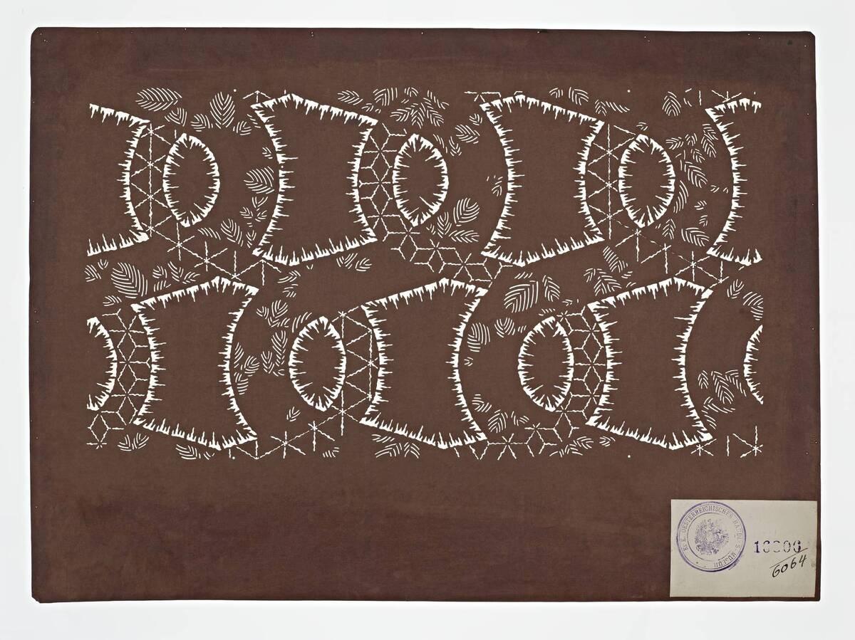 Teil eines Sets (hazure はずれ), geometrisches Muster mit Plisseebatik (orinui shibori 折り縫い絞り)-Muster, Blätter und Teile von asa no ha 麻の葉 (Hanfblatt)-Flächenmuster (Einzelblatt) von Anonym