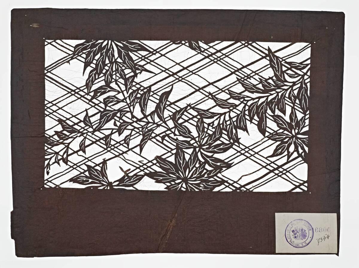 Teil eines Sets (hazure はずれ), Pflanze auf Gittermuster (Einzelblatt) von Anonym