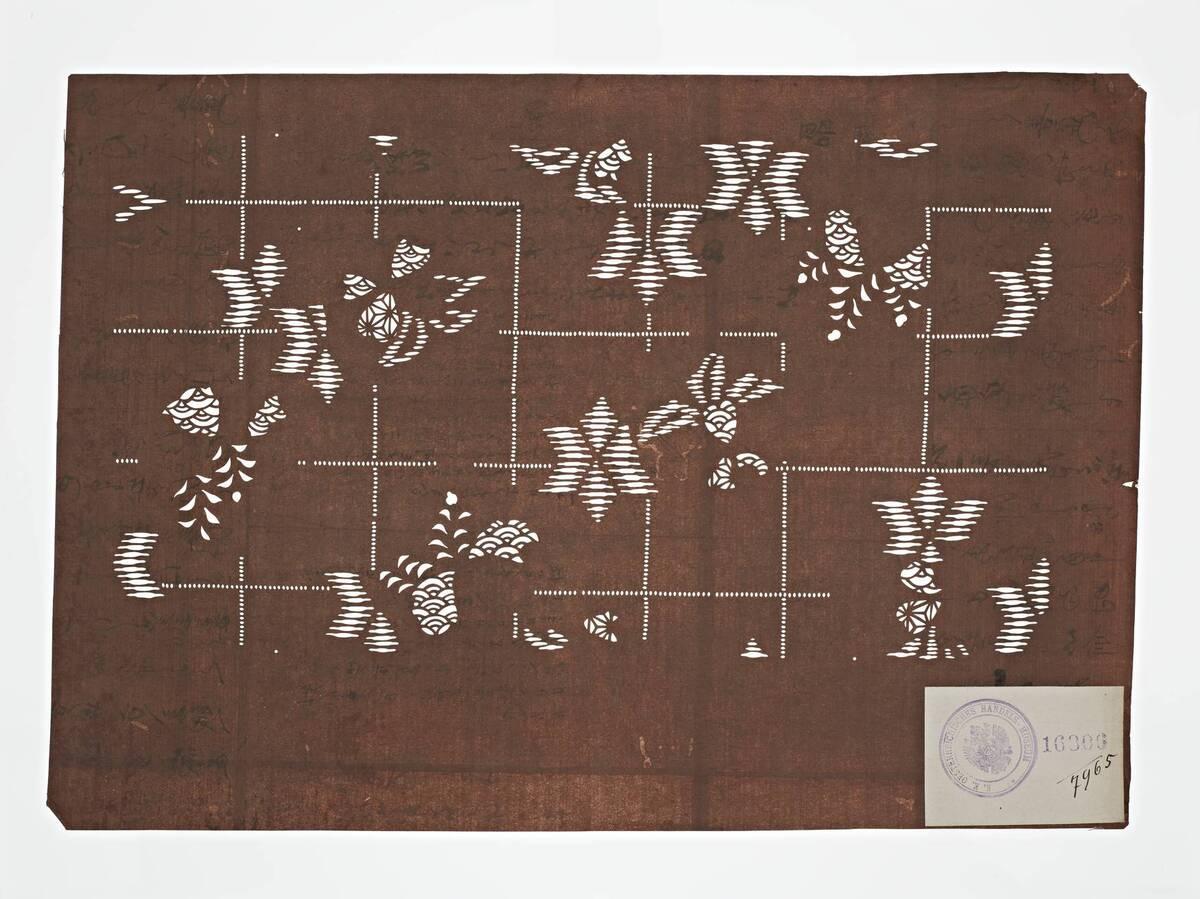 Teil eines Sets (hazure はずれ), Pflanzen(?) auf Gitter (Einzelblatt) von Anonym