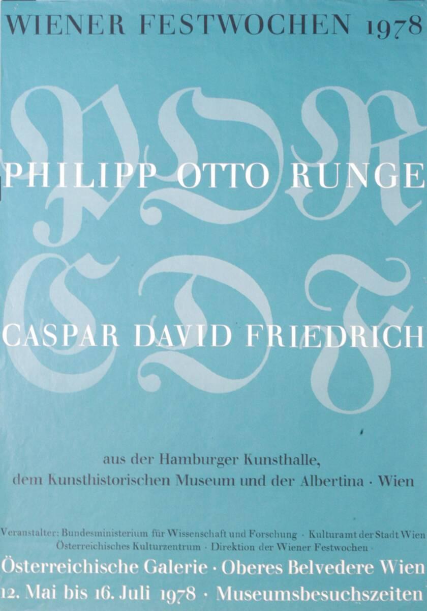 Wiener Festwochen 1978. Philipp Otto Runge. Caspar David Friedrich (Kurztitel) von Anonym