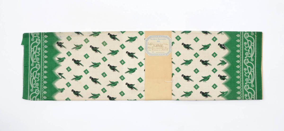 COLONIES FRANCAISES, INDE, Stoffes en usage dans l'Inde. Indienne. Fond blanc dessins verts. von Anonym