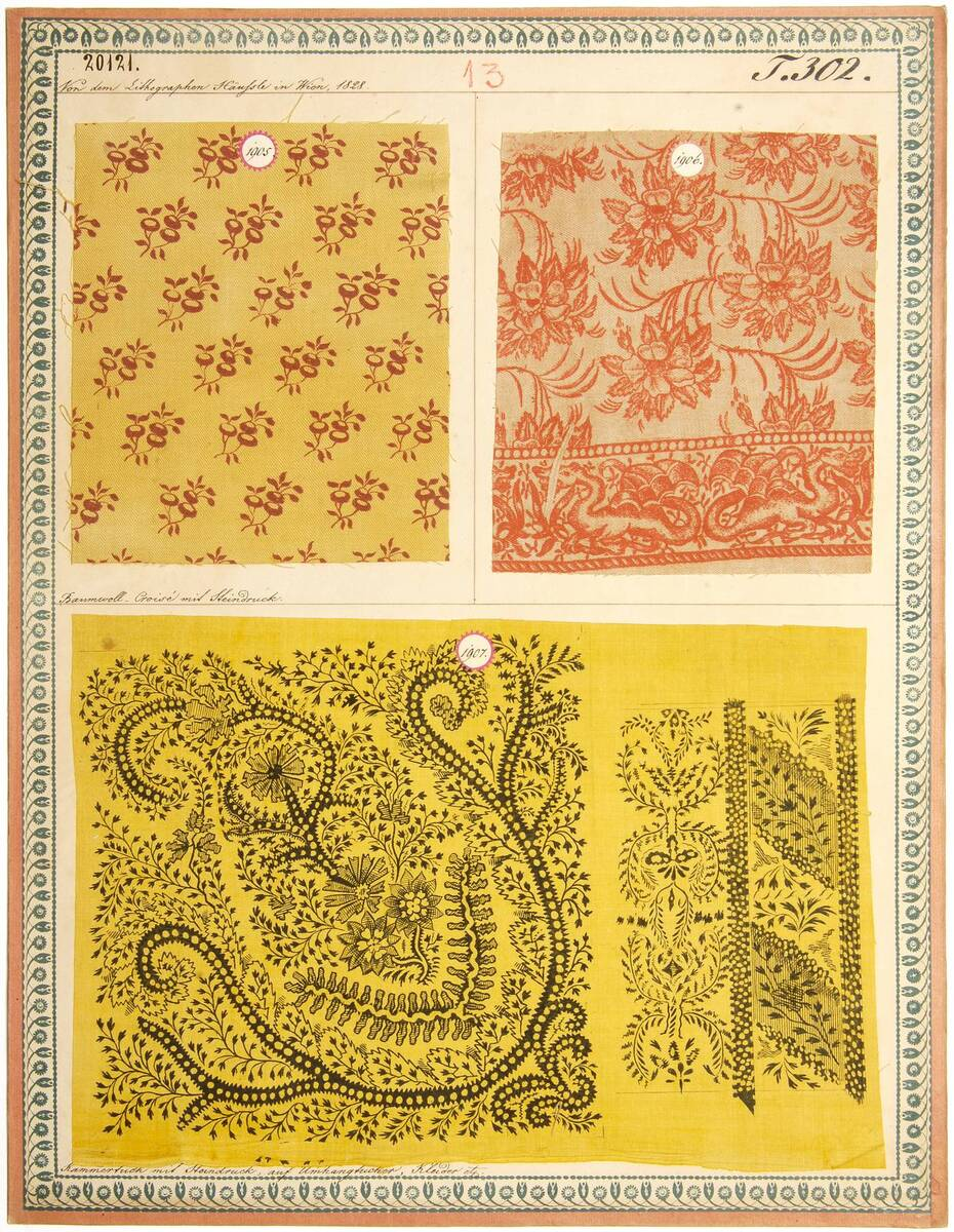 Baumwoll-Croisé mit Steindruck; Kammertuch mit Steindruck, auf Umhängtücher, Kleider etc. (Originaltitel) von Häussle, Joseph