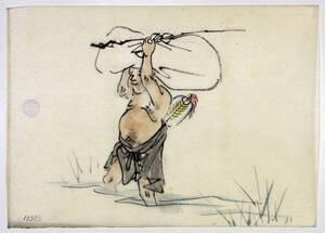 Glücksgott Hotei 布袋 wandert durchs Wasser von Anonym