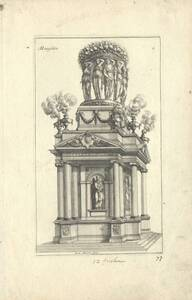Mausoleum, Blatt 2 aus einer Folge von Mausoleen (vom Bearbeiter vergebener Titel) von Marot, Jean