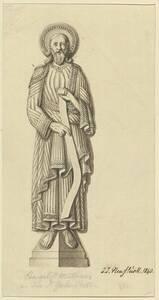 Der Evangelist Matthäus an der Galluspforte am Münster zu Basel in einer Tracht des XI. Jahrhunderts (vom Bearbeiter vergebener Titel) von Neustück, Johann Jakob