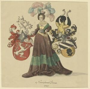 Kopie einer vornehmen Frau mit zwei Wappen aus der ersten Hälfte des 16. Jahrhunderts von Hefner (vom Bearbeiter vergebener Titel) von Hefner-Alteneck, Jakob Heinrich von