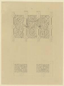 Kopie von Deckel und Seitenansicht eines Holzkästchens mit Blattmotiven, Spruchband und Eisenbeschlägen von C. Becker von Becker, Carl