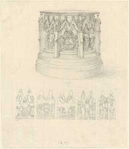 Kopie des brozenen Taufbeckens des Meisters Eckard aus dem Jahr 1279 im Dom St. Kilian zu Würzburg mit Inschrift und in gotischen Doppelbögen eingefassten acht Darstellungen aus dem Leben Christi von C. Becker von Becker, Carl