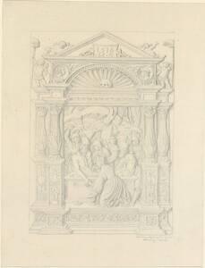 Kopie eines Reliefs des Meisters Hans Schwarz aus Augsburg, aus braunem birnbaumähnlichen Holz, die Grablegung Christi darstellend, von Hennig von Hennig