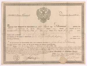 Entlassungsurkunde des k. k. Militärdienstes für den Cadet Ignaz von Dzwonkowsky aus dem Jahr 1831 von Anonym