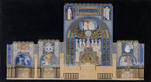 Entwurf des Aufrisses der Chorseite zur Heilig-Geist-Kirche in Düsseldorf (vom Bearbeiter vergebener Titel) von Moser, Koloman