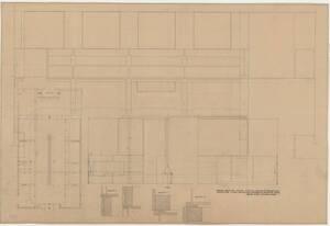Grundriss und Ansichten für den Raum Graphik, Mode und Bühne (französischer Saal) auf der österreichischen Kunstausstellung 1947 im Wiener Künstlerhaus (vom Bearbeiter vergebener Titel) von Prutscher, Otto