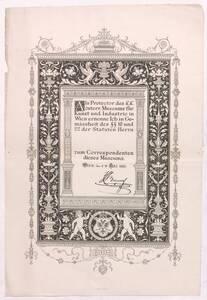 """Mitgliedsurkunde der """"Gesellschaft zur Förderung der Kunstgewerbeschule des k.k. österr. Museums"""" entworfen von Joseph Storck von Storck, Josef von"""
