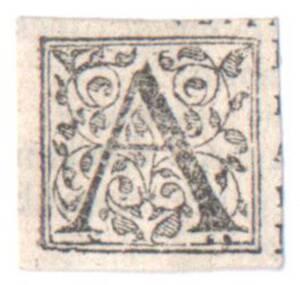Der Buchstabe A, ausgeschnitten (vom Bearbeiter vergebener Titel) von Anonym