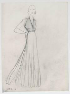 Skizze eines Abendkleides (vom Bearbeiter vergebener Titel) von Deutsch-Dryden, Ernst