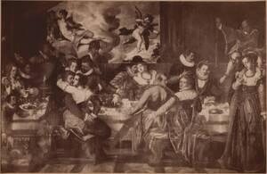 Fotografie einer Malerei einer Festtafel-Szene, vermutlich aus der Schule des Francesco Bassano von Angerer, Victor