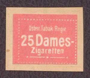 Werbemarke der Österr. Tabak-Regie für 25 Dames-Zigaretten von Anonym