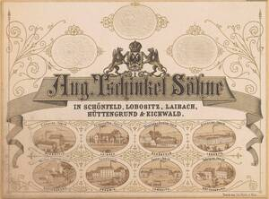 Geschäftskarte der Firma Aug. Tschinkel Söhne (vom Bearbeiter vergebener Titel) von Anonym