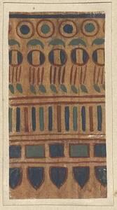 Entwurf zu einer schmalen Bordüre für eine Wanddekoration mit buntem Muster aus Kreisen, Strichen, Rechtecken und Keilen von Ferdinand Laufberger (?) (vom Bearbeiter vergebener Titel) von Laufberger, Ferdinand