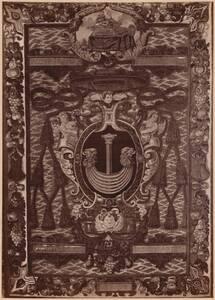 """Fotografie eines Gobelins """"Portiere mit dem Wappen des Bischof Zadzik"""" aus der Wawelburg, Krakau von Krieger, Ignaz"""