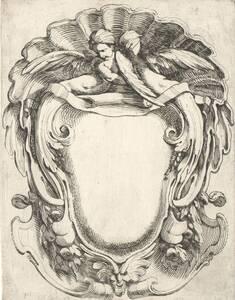 Kartusche mit geflügelter Figur, von Domenico Santi, vormals Mitelli zugeschrieben, Blatt aus einer Folge (vom Bearbeiter vergebener Titel) von Santi, Domenico