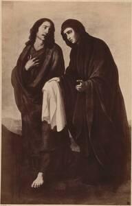 """Fotografie eines Gemäldes """"Maria und Johannes mit dem Grabtuch"""" von Francisco de Zurbarán y Salazar (vom Bearbeiter vergebener Titel) von Franz Hanfstaengl <Kunstverlag>"""
