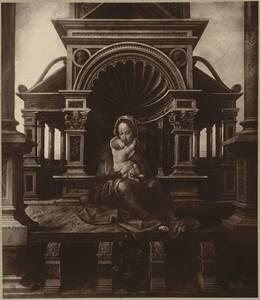 """Fotografie des Gemäldes """"Madonna mit Kind"""" von Jan Gossaert im Museo del Prado in Madrid (vom Bearbeiter vergebener Titel) von Ad. Braun & Cie."""