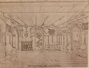 Fotografie eines Interieurs eines bayerischen Schlosses (vom Bearbeiter vergebener Titel) von Anonym
