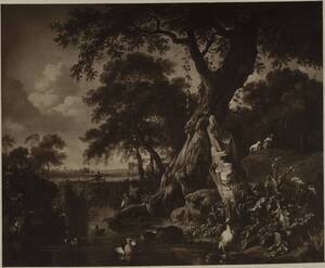 Fotografie eines Landschaftsgemäldes von Jan Wijnants (vom Bearbeiter vergebener Titel) von Ad. Braun & Cie.