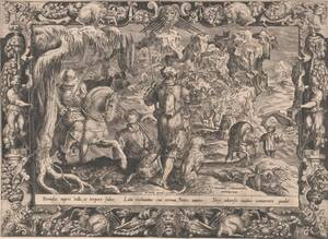 Steinbockjagd in Ornamentrahmen, Blatt aus der Folge der Tapisserien für die Villa Poggio a Caiano, herausgegeben von H. Cock von Straet, Jan van der
