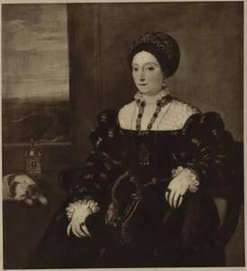 Fotografie des Porträts der Eleonora Gonzaga von Tizian (vom Bearbeiter vergebener Titel) von Ad. Braun & Cie.