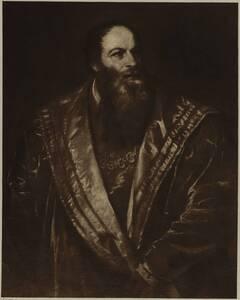 Fotografie des Porträts von Pietro Aretino von Tizian im Palazzo Pitti (vom Bearbeiter vergebener Titel) von Braun, Clement & Cie.