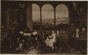 """Fotografie des Gemäldes """"Allegorie des Hörens"""" von Jan Bruegel d. Ä. und Peter Paul Rubens im Museo del Prado in Madrid (vom Bearbeiter vergebener Titel) von Ad. Braun & Cie."""
