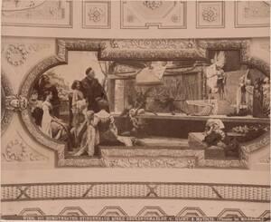 """Fotografie eines Deckengemäldes """"Theater im Mittelalter"""" im linken Stiegenhaus im Wiener Burgtheater, von Gustav Klimt und Franz von Matsch (vom Bearbeiter vergebener Titel)"""