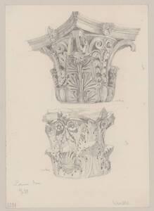 Kopie von zwei korinthischen Säulenkapitelen nach antiken Vorbildern im Museo gregoriano profano ex lateranense im Vatikan von Hermann Herdtle von Herdtle, Hermann