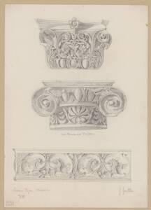 Kopie zweier korinthischer Säulenkapitele und eines Frieses vom Trajanforum im Museo gregoriano profano ex lateranense im Vatikan von Hermann Herdtle von Herdtle, Hermann
