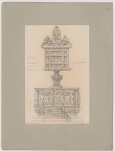 Kopie des Lesepults Bartolomeo Neronis im Chorgestühl des Doms zu Siena mit dem Wappen Alessandro de' Medicis von Hermann Herdtle von Herdtle, Hermann