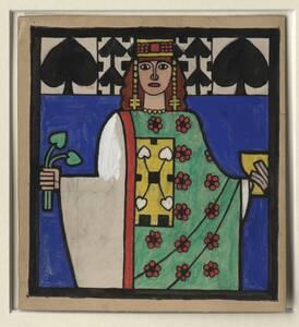 Originalentwurf für die Tarock-Spielkarte der Pik Dame von Ditha Moser von Moser, Ditha