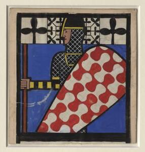 Originalentwurf für die Tarock-Spielkarte des Treff Buben von Ditha Moser von Moser, Ditha