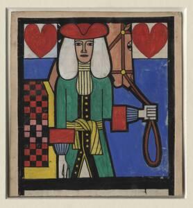 Originalentwurf für die Tarock-Spielkarte des Herz Reiters von Ditha Moser von Moser, Ditha
