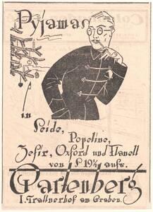 Werbeanzeige für Pyjamas in Seide, Popeline, Zefir, Oxford und Flanell von Gartenberg I. Trattnerhof am Graben von Anonym