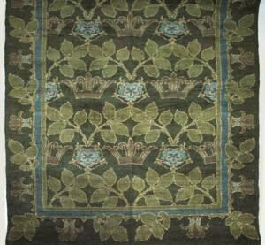 Chenille-Teppich mit Blattreihen, grauen Kronen und blauen Blüten von Anonym