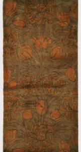 Verschlungene Blätter und Blüten in Braun- und Grüntönen von Wilton Royal Carpet Factory