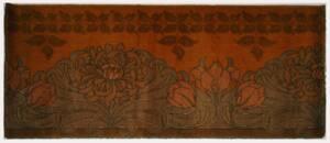 Verschlungene Blätter und Blüten in Grün- und Brauntönen von Wilton Royal Carpet Factory