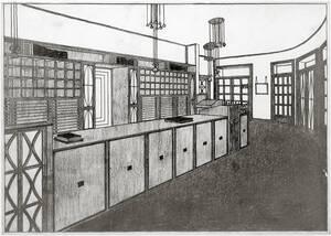 """Entwurfszeichnung, Verkaufsraum, Geschäftslokal """"Verlag der K. K. Hof- und Staatsdruckerei"""", Wien I, Seilerstätte 24 von Hoffmann, Josef"""