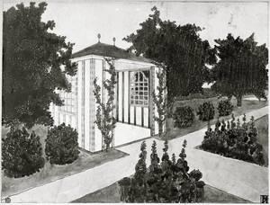Entwurfszeichnung, Lusthaus, Landhaus Heinrich Böhler, Baden bei Wien, Pelzgasse 11 von Hoffmann, Josef