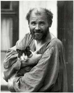 Gustav Klimt mit Katze von Nähr, Moriz