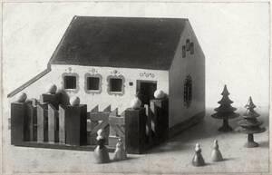 Kinderpielzeug: Haus mit Gartenzaun, Nadelbäumen, Spielfiguren von Kunstgewerbeschule des K.K. Österreichischen Museums für Kunst und Industrie