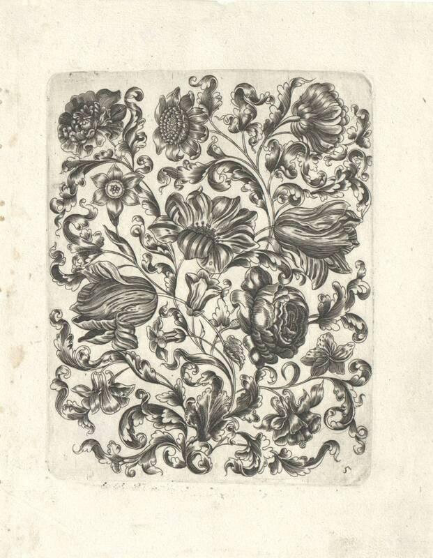Stilisierte Blumen-Füllung, Blatt 5 aus einer Folge von Füllungen für Goldschmiede von Thünckel, Johannes